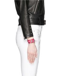 Alexander McQueen - Pink Skull Loop Double Wrap Leopard Print Leather Bracelet - Lyst