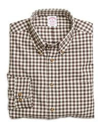 Brooks Brothers | Brown Regular Fit Flannel Gingham Sport Shirt for Men | Lyst