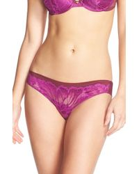 Natori | Purple 'exotic Flower' Low Rise Tanga | Lyst