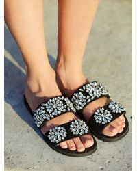 Free People - Black Jeffrey Campbell + Womens Surface Glitter Sandal - Lyst
