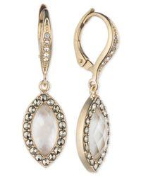 Judith Jack - Metallic Navette Orbit 10k Gold-plated Opal Marcasite Teardrop Earrings - Lyst