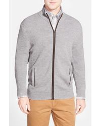 John W. Nordstrom - Gray Wool Zip Cardigan for Men - Lyst