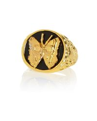 River Island | Black Gold Tone Lusardi Butterfly Signet Ring | Lyst