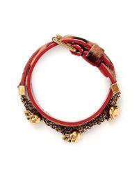 Alexander McQueen | Natural Skull Chain Double Wrap Cheetah Print Calf Hair Bracelet | Lyst