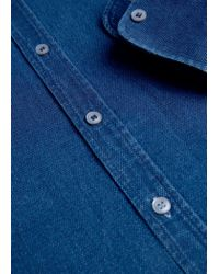 Mango - Blue Slim-fit Patterned Chambray Shirt for Men - Lyst