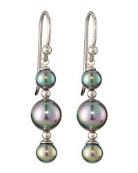 Majorica - Gray Triple-tier Earrings - Lyst