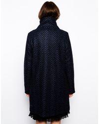 BOSS Orange - Blue Orandana Coat In Chevron Wool With Popper Fastening - Lyst