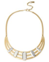 Kenneth Cole | Metallic Two-tone Geometric Bead Sculptural Frontal Necklace | Lyst