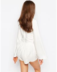 ASOS | Natural Woven Bell Sleeve Festival Playsuit | Lyst