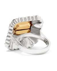Alexander McQueen - Green Silver And Gold-tone Crystal Ring - Lyst