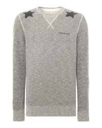 True Religion | Gray Print Crew Neck Pull Over Overhead for Men | Lyst