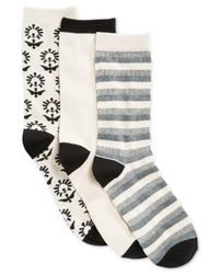 Lucky Brand | Black Women's Crew Socks Gift Box 3 Pack | Lyst