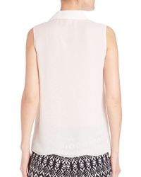 Diane von Furstenberg - White Blakely Pleated Silk Shirt - Lyst