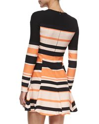 J. Mendel - Black Striped Long-Sleeve Pleated Skirt Dress - Lyst