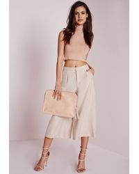 Missguided - Natural Woven Culottes Nude - Lyst
