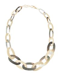 Fragments - Gray Oval Shell Link Necklace - Lyst