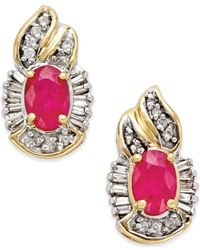 Macy's - Metallic Ruby (1-1/5 Ct. T.w.) And Diamond (1/4 Ct. T.w.) Oval Earrings In 14k Gold - Lyst