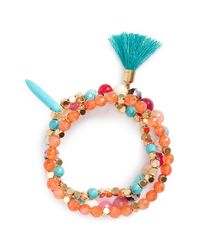Panacea | Blue Beaded Stretch Bracelet - Turquoise | Lyst