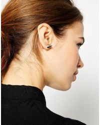 ASOS - Metallic Double Spike Through Earrings - Lyst