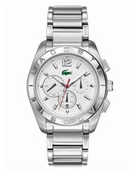 Lacoste - Gray Men'S Chronograph Panama Stainless Steel Bracelet 46Mm 2010604 for Men - Lyst
