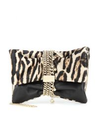 Jimmy Choo - Multicolor Chandra Embellished Calf Hair And Leather Clutch - Lyst