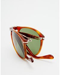 Persol | Brown Aviator Keyhole Foldable Sunglasses for Men | Lyst