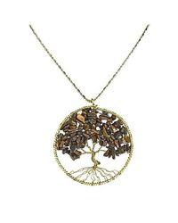 Aeravida - Metallic Tiger's Eye Stone Eternal Tree Of Life Brass Long Necklace - Lyst