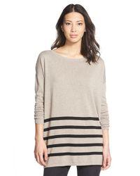 Caslon - Natural Blanket Stripe Cotton Blend Pullover - Lyst
