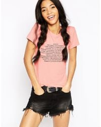 Wildfox - Pink Love Is Crew Neck T-shirt - Lyst