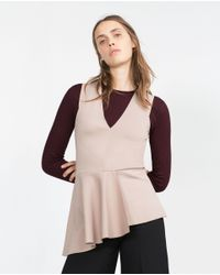 Zara | Brown Combined Peplum Top | Lyst