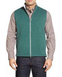 Peter Millar | Green 'melbourne' Contrast Collar Fleece Vest for Men | Lyst