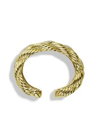 David Yurman | Metallic Sculpted Cable Wide Cuff Bracelet With Diamonds In 18k Gold, 28mm | Lyst