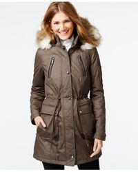 Laundry by Shelli Segal | Brown Faux-fur-trim Parka | Lyst