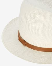 Hat Attack | Brown Original Leather Trim Panama Hat | Lyst