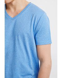 Forever 21 - Blue Heathered V-neck Tee for Men - Lyst