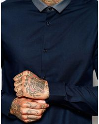 ASOS - Blue Shirt With Long Sleeve And Contrast Collar for Men - Lyst