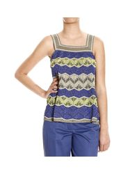M Missoni | White Metallic Crochet-knit Top | Lyst