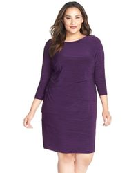 Tahari | Purple Melange Jersey Tiered Sheath Dress | Lyst
