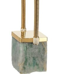 Isabel Marant - Green Gold-tone Stone Necklace - Lyst