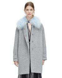 Rebecca Taylor - Gray Wool Shearling Cocoon Winter Coat - Lyst