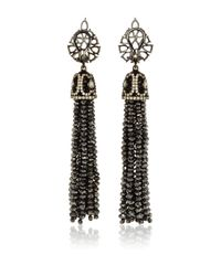 Sutra Black Diamond Bead Chandelier Earrings