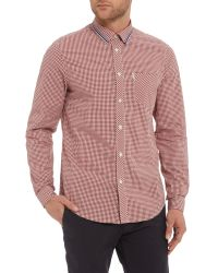 Ben Sherman | Red Tipped Collar Gingham Long Sleeve Shirt for Men | Lyst
