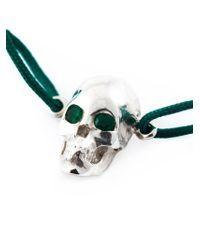 Leivan Kash - Green Emerald Eyes Skull Bracelet - Lyst