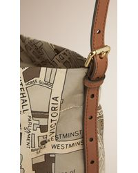 Burberry - Multicolor London Map Cotton Shoulder Bag - Lyst