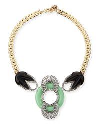 Lulu Frost - Green Moderne Enamel & Crystal Bib Necklace - Lyst