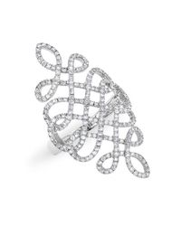 Anne Sisteron | Metallic 14kt White Gold Diamond Woven Lace Ring | Lyst