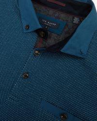 Ted Baker - Blue Hamnet Birdseye Front Polo Shirt for Men - Lyst