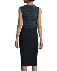 Jason Wu - Black Sleeveless Tweed/crepe Combo Sheath Dress - Lyst