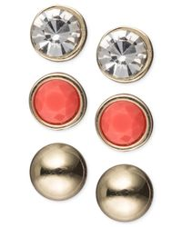 Jones New York | Multicolor Gold-Tone Stud Trio Earring Set | Lyst