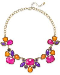 Style & Co. - Metallic Gold-tone Multicolor Bold Stone Necklace - Lyst